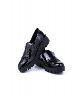 Туфлі чорні лаковані з лапшею 1 - Respected-Person