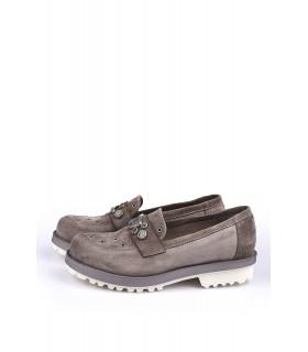 Туфлі-лофери бежеві замшеві з камінням - Respected-Person