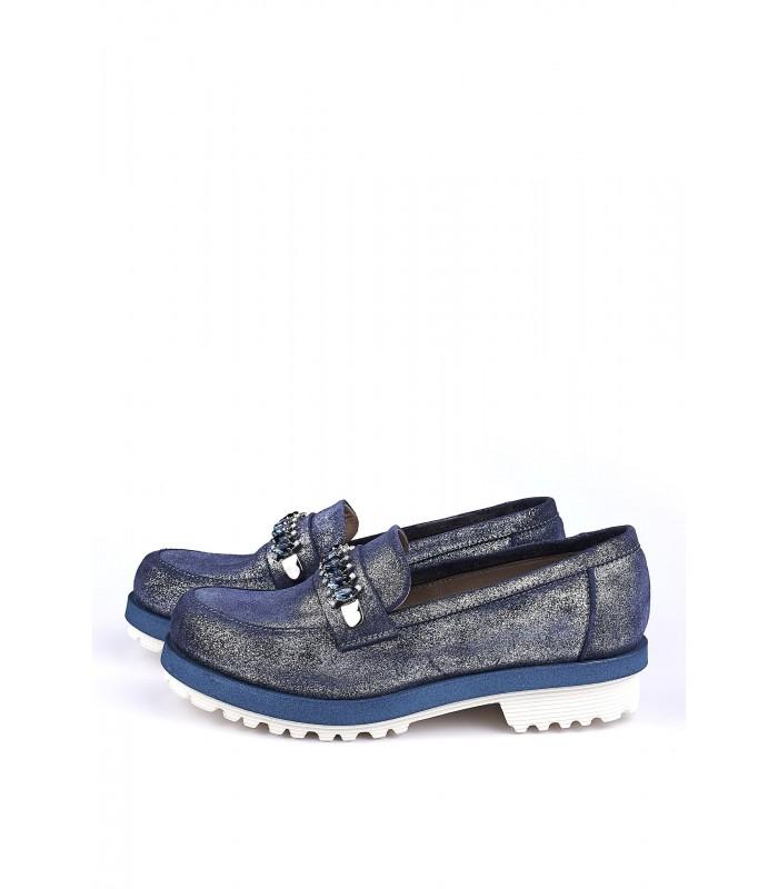 Туфлі-лофери блакитні з лазерним покриттям