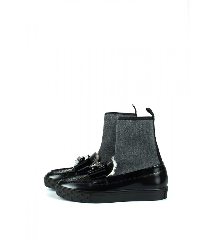 Туфлі зі стрейчевим верхом з хутром