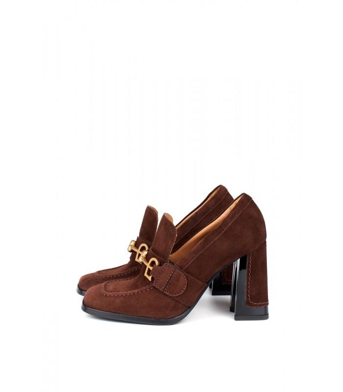 Туфли бордовые замшевые с квадратным носком