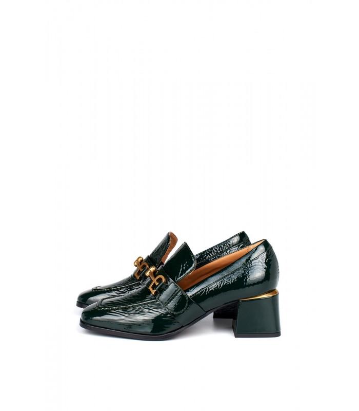 Туфлі зелені лаковані с квадратним носком