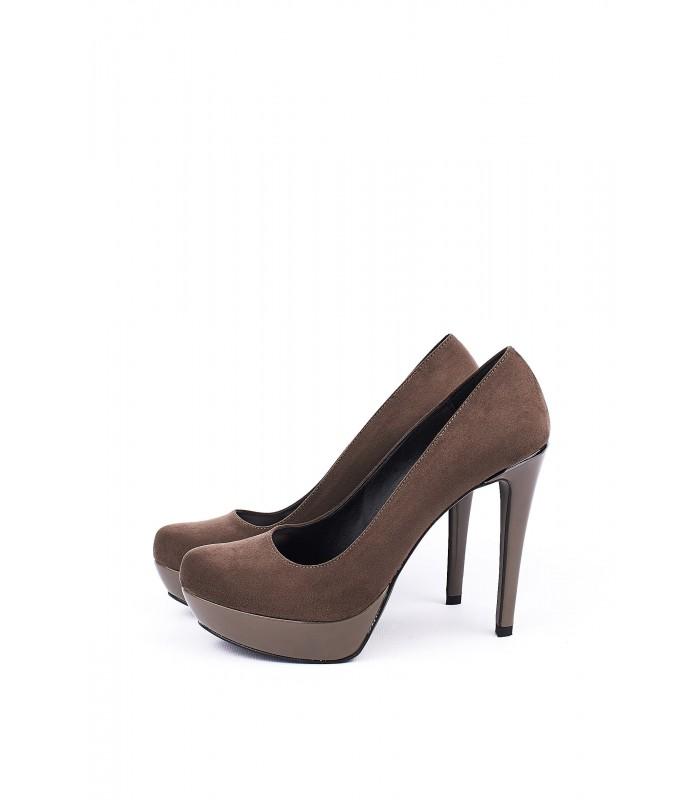 Туфлі темно-бежеві замшеві на шпильці