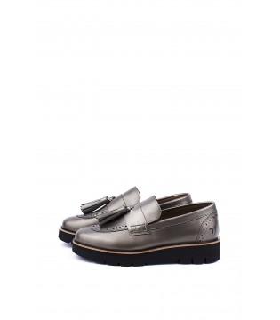 Туфлі-лофери бронзові з натуральної шкіри