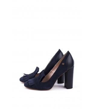 Туфлі сині замшеві із шкіряним задніком