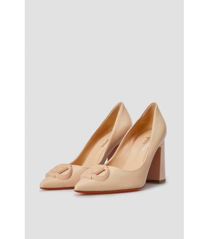Туфлі пудрові на широкому каблуку