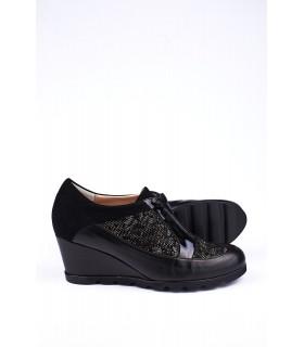 Туфлі чорні шкіряні з натуральної шкіри з вставками із замші на танкетці 1 - Respected-Person