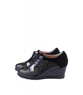 Туфлі чорні шкіряні з натуральної шкіри з вставками із замші на танкетці - Respected-Person